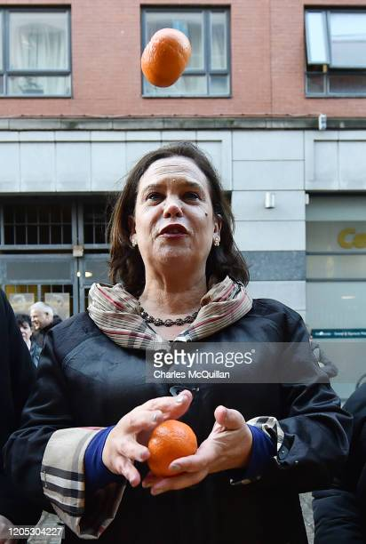 Mary Lou McDonald, President of Sinn Fein greets supporters in Dublin City Centre on February 10, 2020 in Dublin, Ireland. Ireland has gone to the...