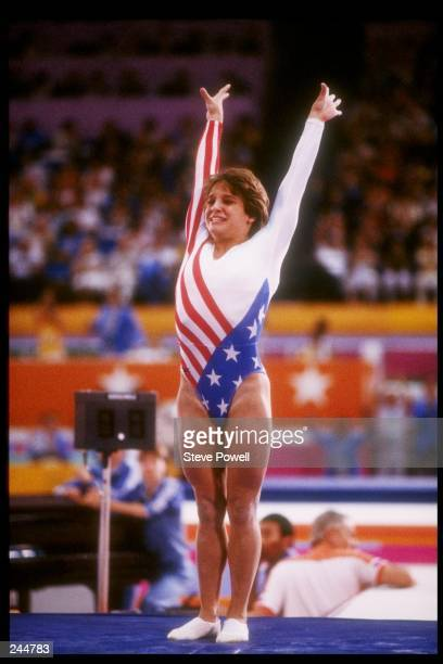 Mary Lou Retton of the United States in action during the Summer Olympics in Los Angeles California Mandatory Credit Steve Powell /Allsport