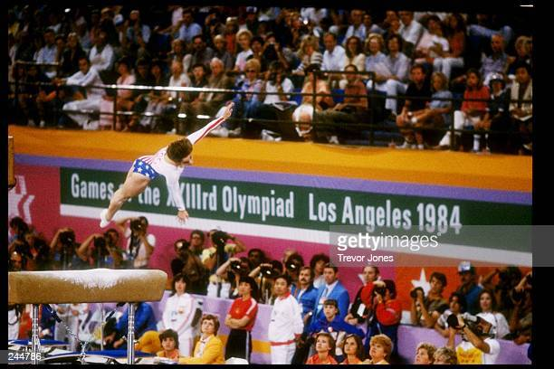 Mary Lou Retton of the United States in action during the Summer Olympics in Los Angeles California Mandatory Credit Trevor Jones /Allsport