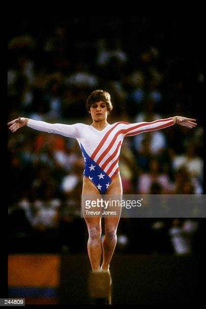 Mary Lou Retton of the United States in action on the balance beam during the Summer Olympics in Los Angeles California Mandatory Credit Trevor Jones...