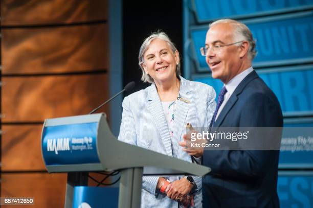 Mary Luehrsen Executive Director of The NAMM Foundation introduces author and columnist David Brooks during the NAMM FlyIn For Music Education...