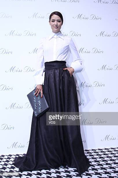 Mary Ma attends Miss Dior exhibition at Shanghai Urban Sculpture Center on June 19 2014 in Shanghai China