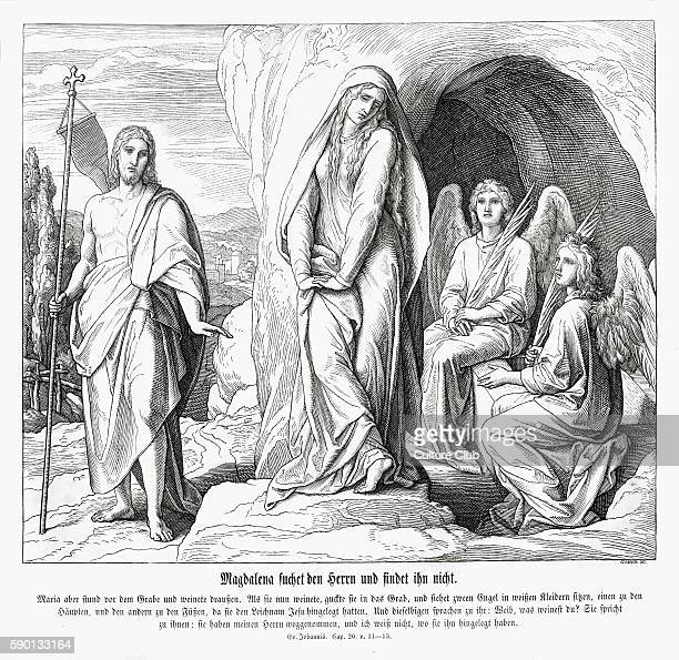 Mary Magdalene at Jesus' tomb Gospel of John chapter XX verses 11 13 'But Mary stood without at the sepulchre weeping and as she wept she stooped...
