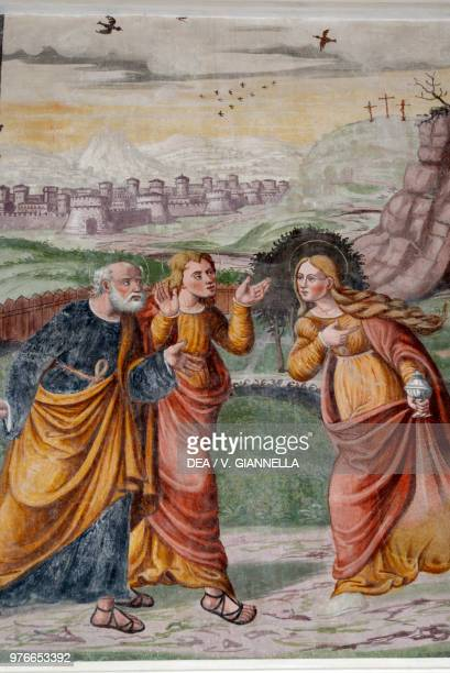 Mary Magdalene at the tomb with the apostles Peter and John, Stories of the Passion of Christ fresco by Christopher Baschenis the Elder, Church of...