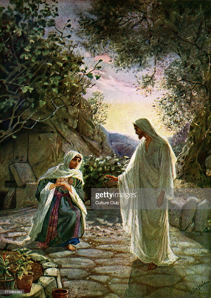 Mary Magdalene speaks to the risen Jesus : News Photo