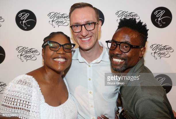 Mary Martha Ford Adam Porter Smith and husband Billy Porter pose at the Native Ken Eyewear NYC Launch Party at Native Ken on July 20 2017 in New York...