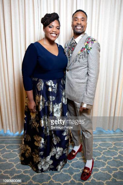 Mary Martha Ford and Billy Porter prepare for the 2019 Golden Globe at Waldorf Astoria Beverly Hills on January 06 2019 in Beverly Hills California