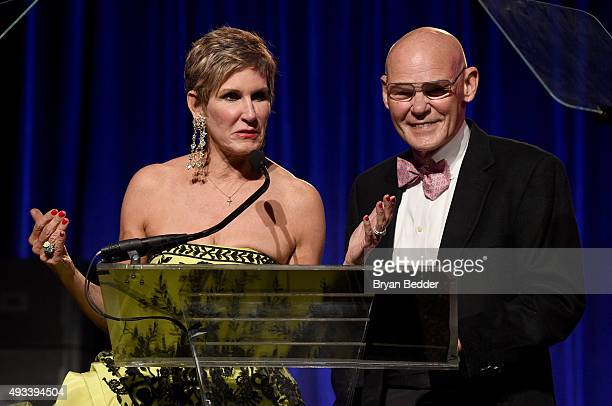 Mary Matalin and James Carville speak onstage during Angel Ball 2015 hosted by Gabrielle's Angel Foundation at Cipriani Wall Street on October 19...