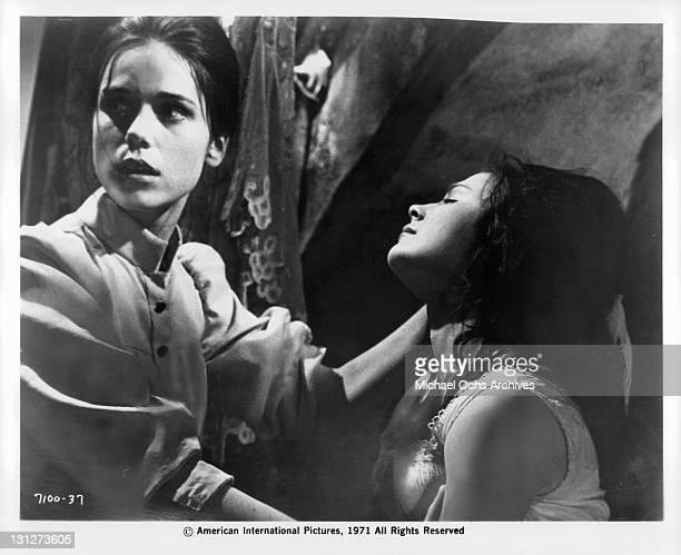Mary Maude subjects Cristina Galbo to physical and mental torture in a scene from the film 'The House That Screamed' 1971