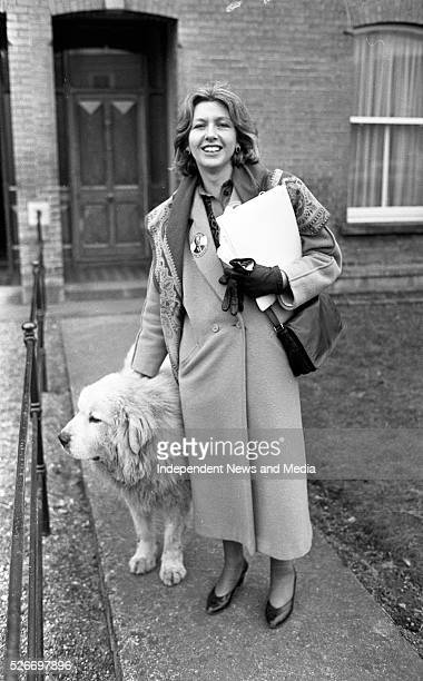Mary McAleese a Fianna Fail candidate for Dublin South East in the 1987 General Election met with 'Phantom' a pyreneen mountain dog whilst canvassing...