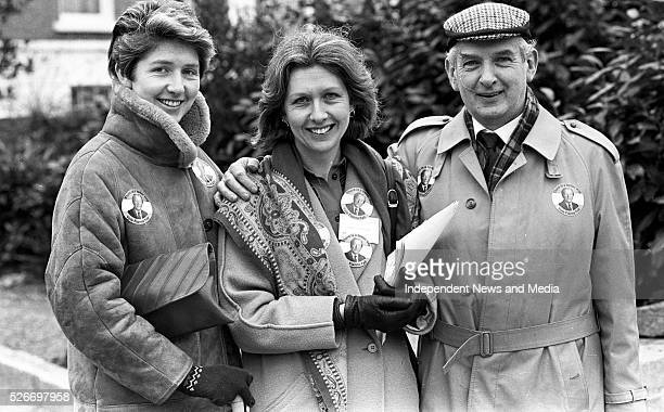 Mary McAleese a Fianna Fail Candidate for Dublin South East in the 1987 General election canvassing with her father Paddy Leneghan and sister Claire...