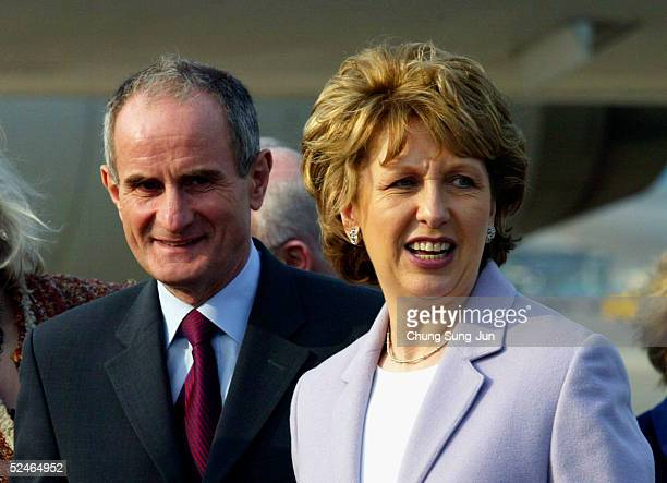 Mary McAleese, the President of Ireland arrives in South Korea with her husband Dr. Martin McAleese at Gimpo International airport on March 22, 2005...