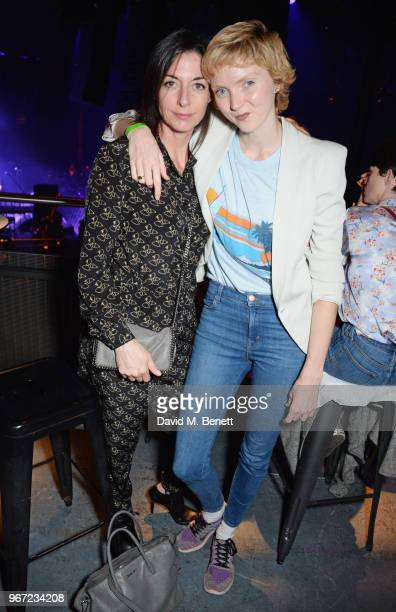 Mary McCartney and Lily Cole attend the Hoping For Palestine benefit concert for Palestinian refugee children at The Roundhouse on June 4 2018 in...