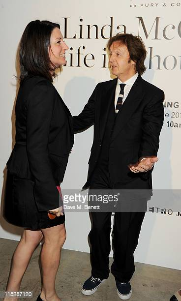 Mary McCartney and Sir Paul McCartney attend a private viewing of 'A Life In Photographs An Exhibition of Photography by Linda McCartney' at Phillips...