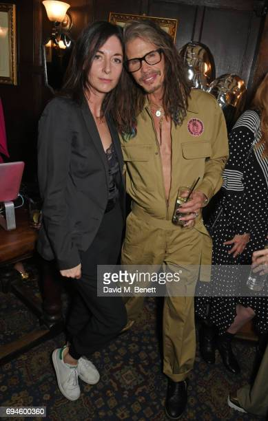 Mary McCartney and Steven Tyler attend a celebration of the Stella McCartney AW17 collection and film launch at Ye Olde Mitre on June 10 2017 in...