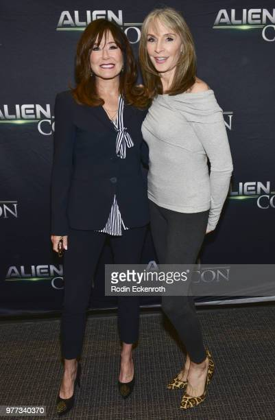 Mary McDonnell and Gates McFadden arrive at AE Networks Mischief Management Prometheus Entertainment present AlienCon 2018 at Pasadena Convention...