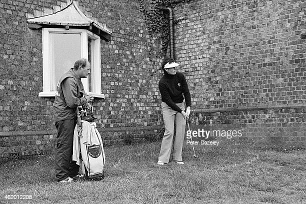 Mary McKenna of Ireland and the GBI team during the 1976 Curtis Cup Matches played at Royal Lytham and St Annes Golf Club on August 12 1976 in Lytham...