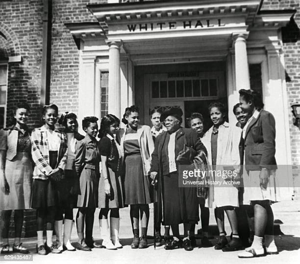 Mary McLeod Bethune, , with Group of Students after Resigning as President of Bethune-Cookman College, Daytona Beach, Florida, 1943.