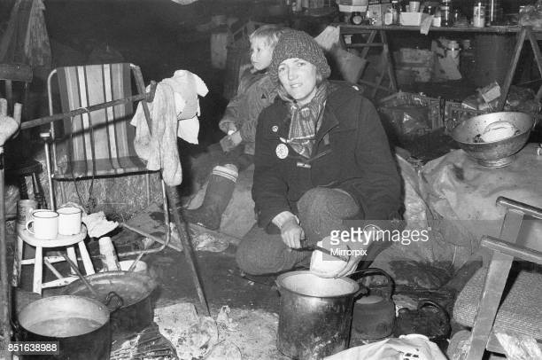 Mary Millington one of the Greenham Common Women's Peace Camp protesters seen here preparing dinner The women are protesting against the decision of...