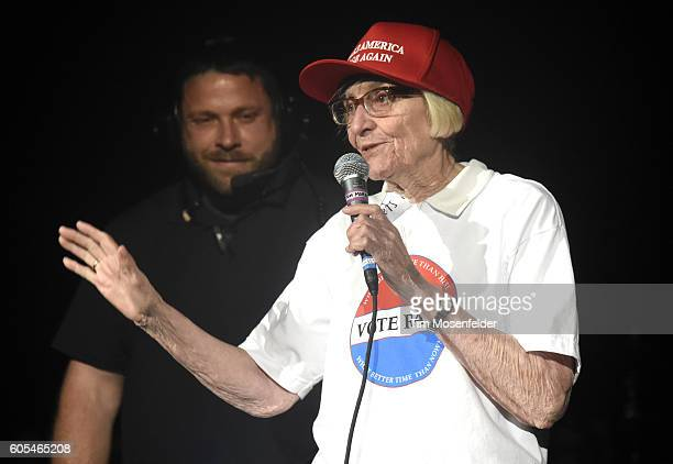 Mary Morello introduces Prophets of Rage as they perform at Shoreline Amphitheatre on September 14 2016 in Mountain View California