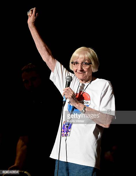 Mary Morello introduces the Prophets of Rage at the Forum on September 15 2016 in Inglewood California
