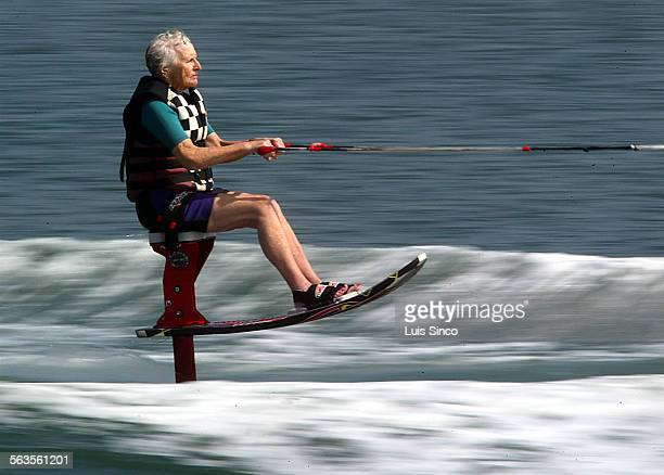 Mary Murphy rides a sky ski a hydrofoil contraption that is part wakeboard and part barber chair during a morning on the water at Marine Stadium in...