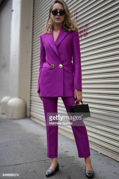 Mary Orton is seen attending Marchesa during New York Fashion Week wearing Petar Petrov on September 13 2017 in New York City