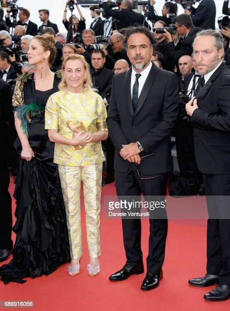Mary Parent Miuccia Prada and Alejandro Gonzalez Inarritu attend the 'The Killing Of A Sacred Deer' screening during the 70th annual Cannes Film...