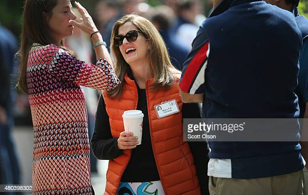 Mary Pat Christie the wife of New Jersey Governor Chris Christie chats with guests the Allen Company Sun Valley Conference on July 11 2015 in Sun...