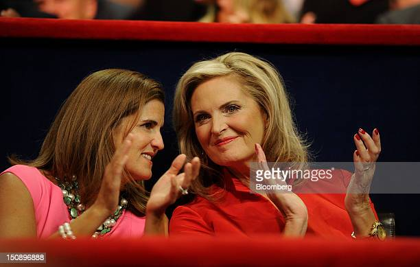 Mary Pat Christie wife of New Jersey Governor Chris Christie left speaks with Ann Romney wife of Republican presidential candidate Mitt Romney while...