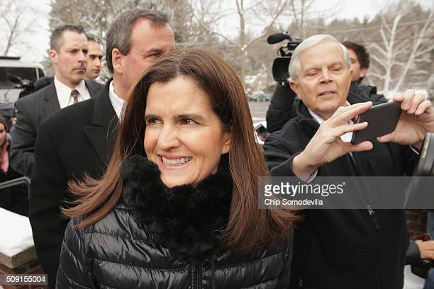 Mary Pat Christie wife of Republican presidential candidate New Jersey Governor Chris Christie arrives outside the polling place at Webster School to...