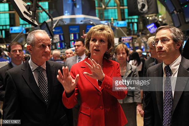 Mary Patricia McAleese, the President of Ireland, tours the floor of the New York Stock Exchange following the Opening Bell on May 21, 2010 in New...