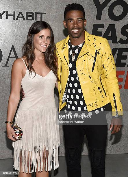 Mary Peluso and Professional Basketball Player Mike Conley attend the opening event for New York Fashion Week Men's S/S 2016 at Amazon Imaging Studio...