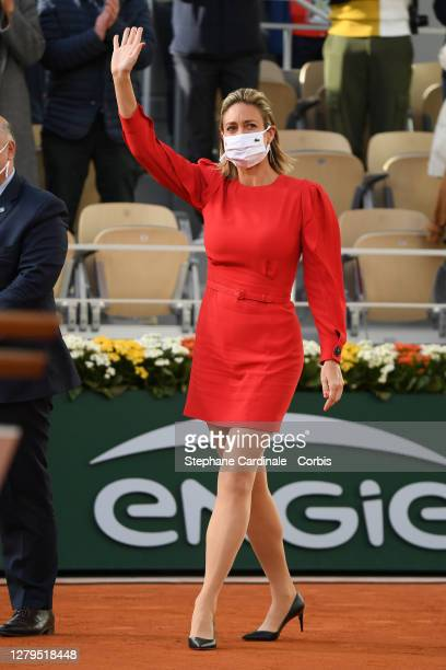 Mary Pierce arrives on the court following the Women's Singles Final on day fourteen of the 2020 French Open at Roland Garros on October 10, 2020 in...