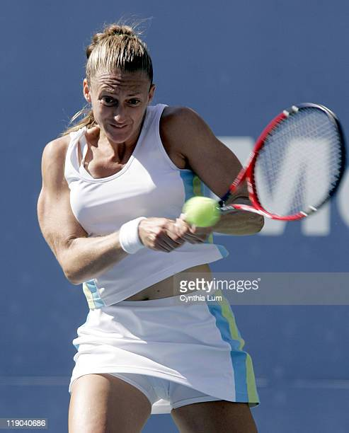 Mary Pierce defeats Amelie Mauresmo 61 61 in the quarter final of the US Open Flushing Meadow New York on September 7 2005