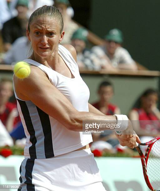 Mary Pierce. Mary Pierce wins a place in the French Open final, defeating Elena Likhovtseva 6-1, 6-1 at Roland Garros on June 2, 2005.