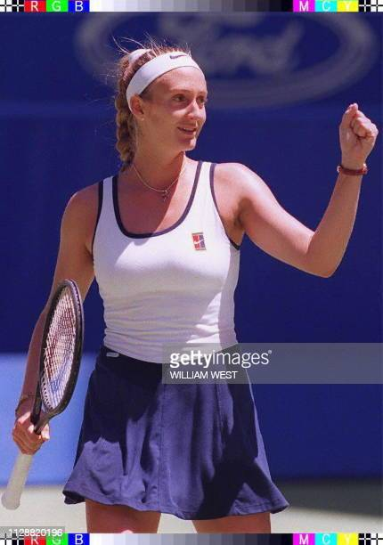 Mary Pierce of France jubilates after defeating Amanda Coetzer of South Africa in the semifinals of the Australian Open tennis tournament in...