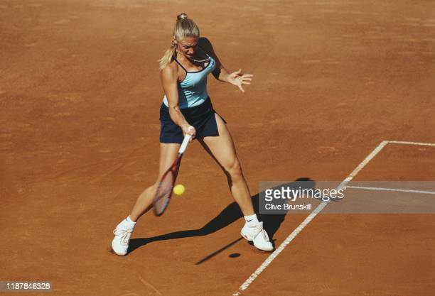 Mary Pierce of France makes a forehand return to Marlene Weingartner during their second round match at the ATP Masters Series Italian Open Tennis...