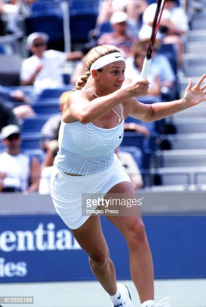 Mary Pierce plays tennis at the US Open circa 2000 in New York City