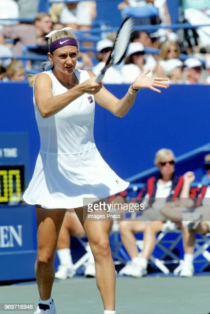 Mary Pierce plays tennis during the 1995 US Open in New York City.