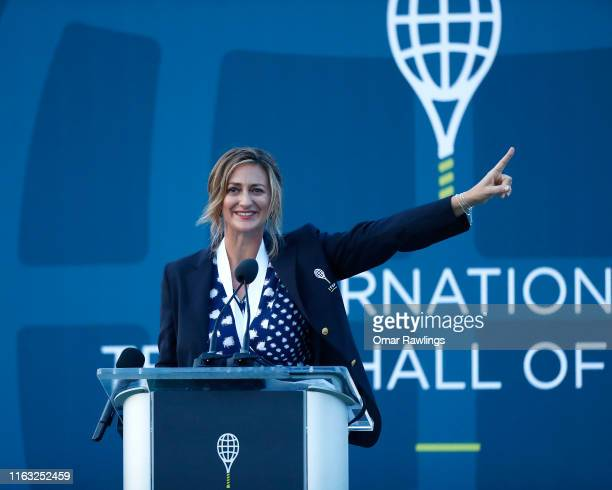 Mary Pierce reacts during her speech, after being inducted with the Class of 2019 in to the International Tennis Hall of Fame on July 20, 2019 in...