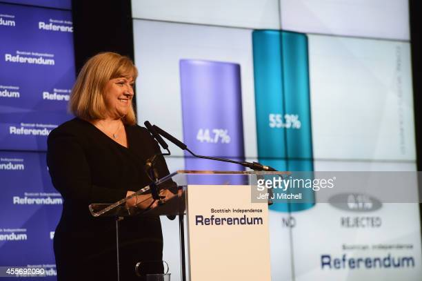 Mary Pitcaithly Chief counting officer declares the result of the Scottish referendum on independence at the count centre for the Scottish referendum...