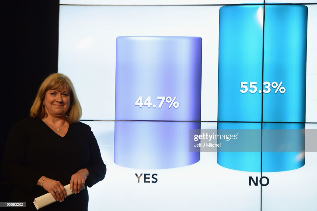 "Mary Pitcaithly, Chief counting officer, declares the result of the Scottish referendum on independence at the count centre for the Scottish referendum at Ingleston Hall on September 19, 2014 in Edinburgh, Scotland. The majority of Scottish people have today voted ""No"" in the referendum and Scotland will remain within the historic union of countries that make up the United Kingdom."