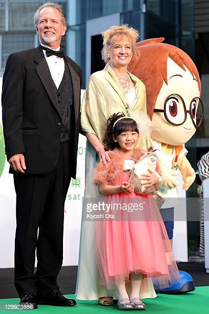 Mary Pope Osborne , original author of 'Magic Tree House', her husband Will Osborne , and actress Mana Ashida pose with its character Jack during the...