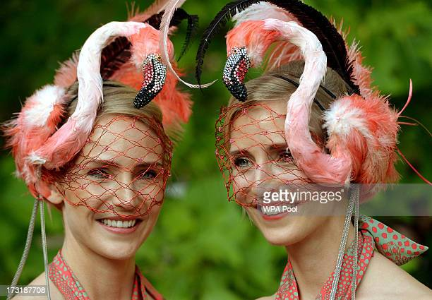 Mary Powys and CEO of the Elephant Family Ruth Powys pose as they attend a reception hosted by The Prince of Wales and Duchess of Cornwall a charity...