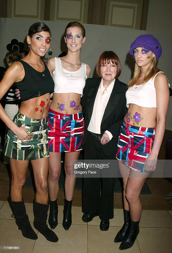 Mary Quant with models wearing her designs and cosmetics from her new line
