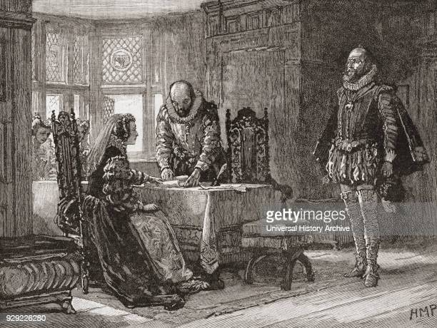 Mary Queen of Scots 1542 – 1587 aka Mary Stuart or Mary I of Scotland signing the deed of abdication in Lochleven Castle Scotland in 1567 Queen...