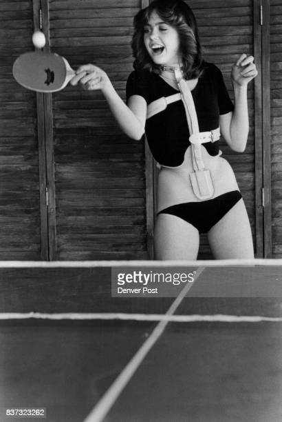 Mary Ramesey shows off her pingpong expertise The 14yearold Everitt Junior High School student wears her brace about 8 hours a day to correct a...