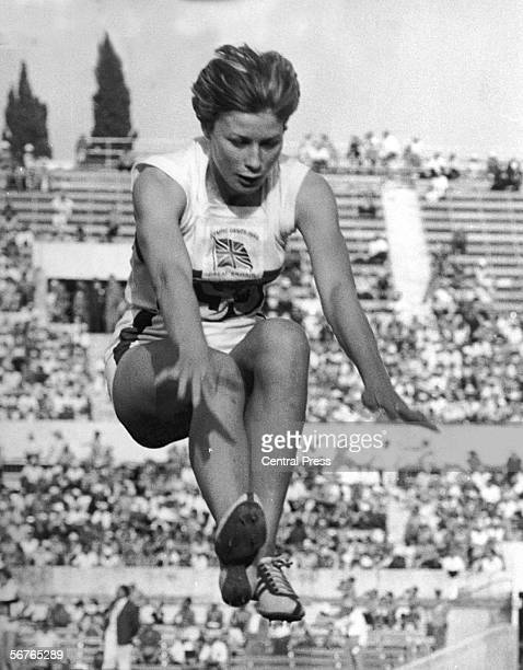 Mary Rand competing in the Long Jump at the Olympics in Rome, 1st September 1960. Although favourite for the event, she failed to qualify for the...