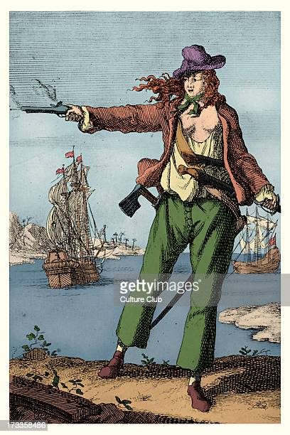 Mary Read Irish female pirate Firing a pistol Worked in the Caribbean region 8 March 1702 – c April 1782
